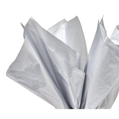 Бумага тишью, серебристая 51х66см (10 листов) - фото 5008