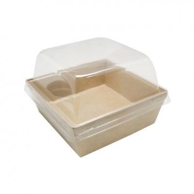 "Крафт контейнер ""Призма"", с прозрачной крышкой, 128х128х50мм - фото 5094"