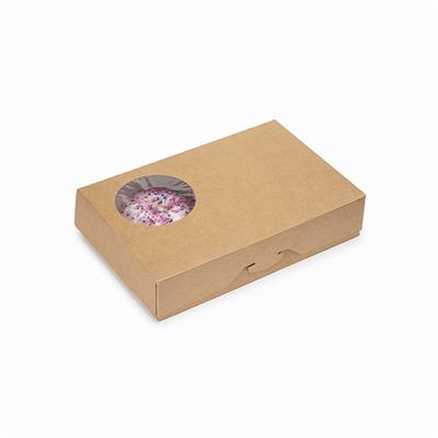 Крафт коробка для пончиков, 270х185х55мм, с окном - фото 5097