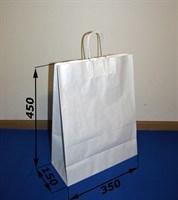 Крафт пакет 350Х150Х450мм, с кручеными ручками, белый