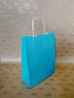 Крафт-пакет 250х110х320мм с кручеными ручками, голубой