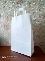 Крафт пакет 320х90х220мм, с плоскими ручками, белый