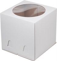 Коробка для торта, 300х300х300мм (с окном), Белая