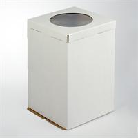 Коробка для торта, 300х300х450мм (с окном), Белая