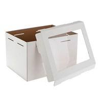 Коробка для торта, 300х400х260мм (с окном), Белая