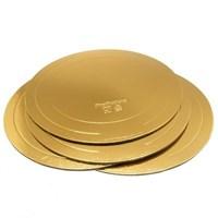 Подложка для торта усиленная, золото/жемчуг (толщина 3,2мм; D 140мм)