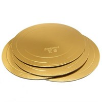 Подложка для торта усиленная, золото/жемчуг (толщина 3,2мм; D 420мм)