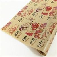 "Крафт бумага с рисунком ""Восточные пожелания"" 0.72х10м, 40г/м."