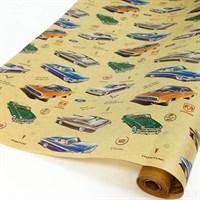 """Крафт бумага с рисунком """"Машинки ретро"""" 0.72х10м, 40г/м."""