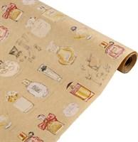 """Крафт бумага с рисунком """"Парфюм"""" 0.72х10м, 40г/м."""