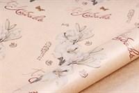 """Крафт бумага с рисунком """"Цветы любовь"""" 0.72х10м, 40г/м."""