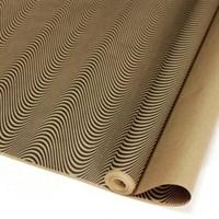 """Крафт бумага с рисунком""""3D линии чёрные""""0,72х10м, 70г/м"""