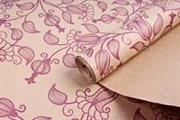 """Крафт бумага с рисунком """"Вьюнок полевой сиреневый""""0,72х10м, 70г/м."""