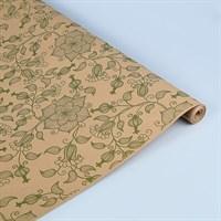 "Крафт бумага с рисунком ""Вьюнок полевой зеленый""0,72х10м, 70г/м."