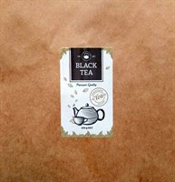 """Наклейка прямоугольная """"Black tea"""" (Черный чай), 3,5х6см"""
